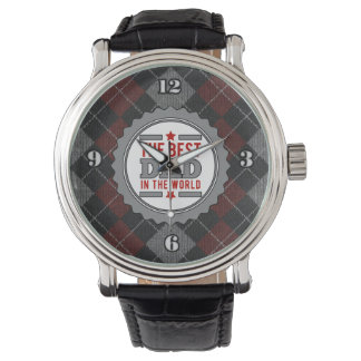 Best Dad in the World Argyle Patterned Wristwatch