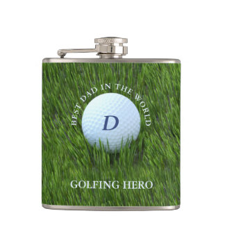 Best Dad in the World Golfing Hero Flask