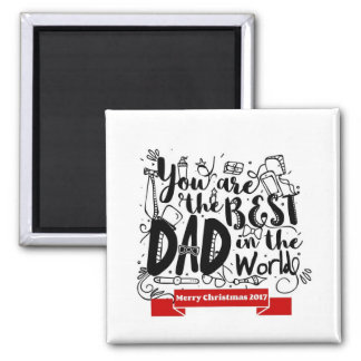 Best Dad In The World Porcelain Christmas Magnet