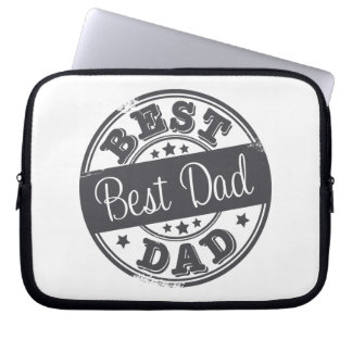 Best Dad - rubber stamp effect - Laptop Sleeve