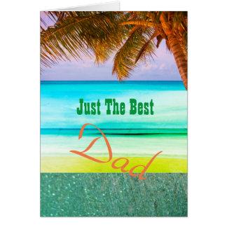 Best Dad Tropical Aqua Island  Greeting Card