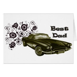 Best Dad Vintage Classic Car Art Gifts Card