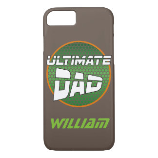 Best Dad with Customisable Name Green and Orange iPhone 7 Case