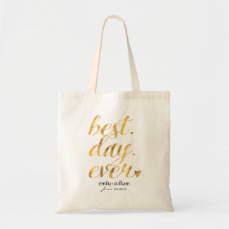 Best Day Ever  Glossy Golden Wedding Welcome Gift Tote Bag