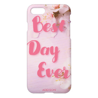 Best Day Ever Glossy iPhone 7 Cases Pink Blossom