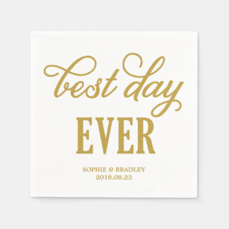 Best Day Ever | Modern Calligraphy Wedding Napkin Paper Napkins