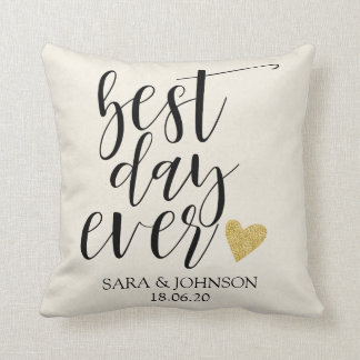 best day ever personlized wedding gift for couple cushion