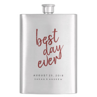 Best Day Ever Red Groomsmen Flask