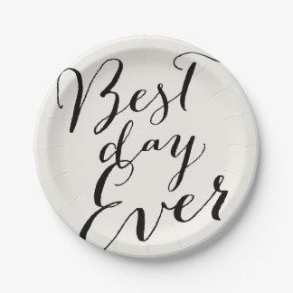 Best Day Ever Script Modern Wedding Paper Plate 7 Inch Paper Plate