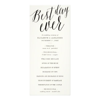 Best Day Ever Simple Script Wedding Program Card