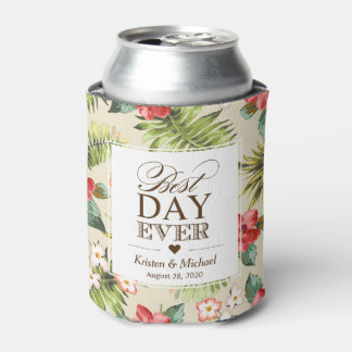 BEST DAY EVER - Tropical Leaves Floral Pineapple Can Cooler