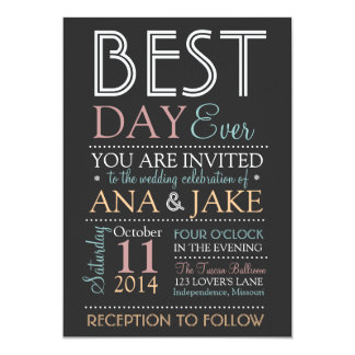 BEST DAY EVER Wedding Invitation- COLORFUL Edition Card