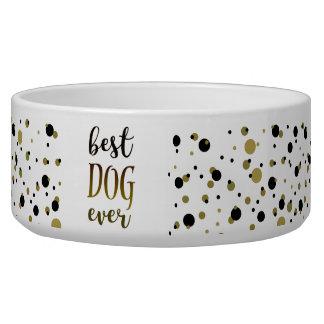 Best Dog Ever Golden Black Dots Confetti Stylish