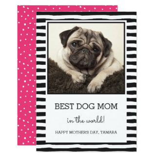 Best Dog Mum Striped | Black | Photo Mother's Day Card