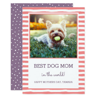Best Dog Mum Striped | Coral | Photo Mother's Day Card