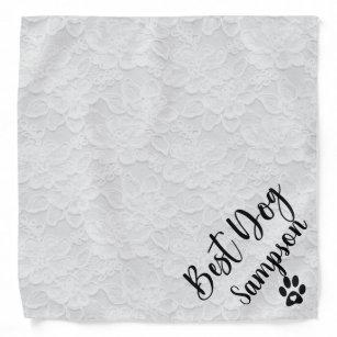 Best Dog Wedding Pet  Personalised White Lace Bandana
