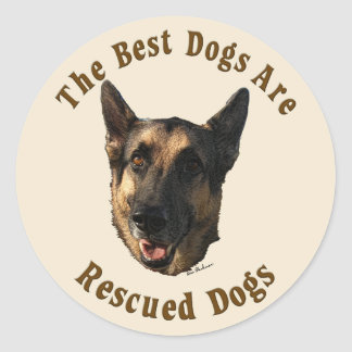 Best Dogs Are Rescued - German Shepherd Dog Classic Round Sticker