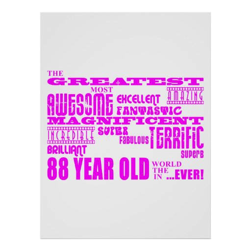 Best Eighty Eight Girls Pink Greatest 88 Year Old Poster