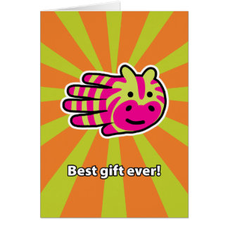 Best Ever Colorful Zebra Birthday Card