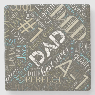 Best Ever Dad Word Cloud ID263 Stone Coaster