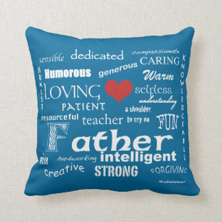 Best Father Attributes-Red Heart/Personalise Throw Pillow