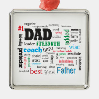 Best Father Dads Day Word Cloud Metal Ornament
