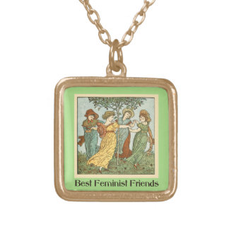 Best feminist friends gold plated necklace