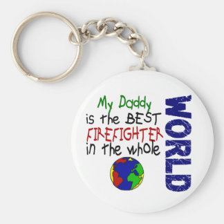 Best Firefighter In World 2 (Daddy) Basic Round Button Key Ring