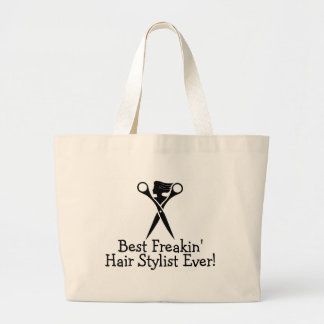 Best Freakin Hair Stylist Ever Black Jumbo Tote Bag