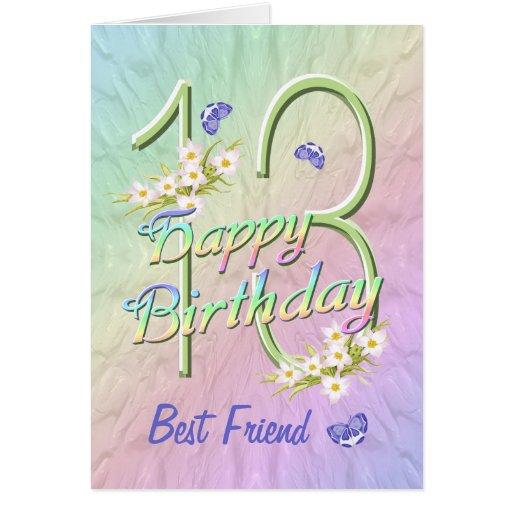 Best Friend 13th Birthday Butterfly Garden Card