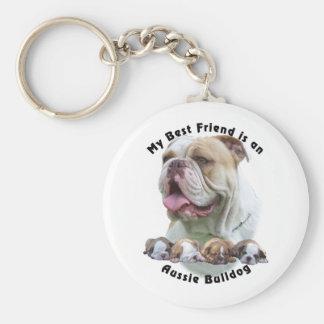 Best Friend Aussie Bulldog 1 Basic Round Button Key Ring