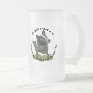 Best Friend Australian Stumpy Tail Frosted Glass Beer Mug