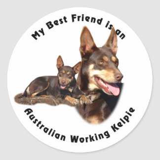 Best Friend Australian Working Kelpie RED Tan Classic Round Sticker