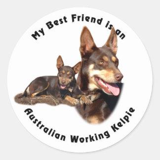 Best Friend Australian Working Kelpie RED Tan Round Sticker