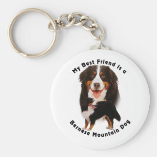 Best Friend Bernese Mountain Dog Basic Round Button Key Ring
