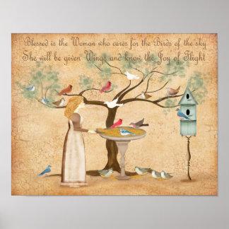 Best Friend BFF animal lover woman birds feeder Poster