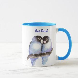 Best Friend, Blue Love Birds, Nature Mug