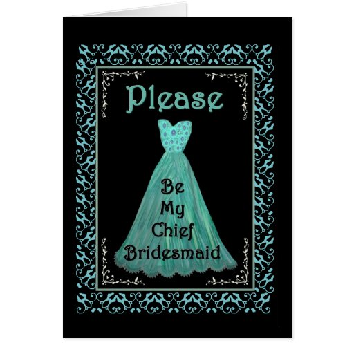 BEST FRIEND Chief Bridesmaid TURQUOISE BLUE Gown Card