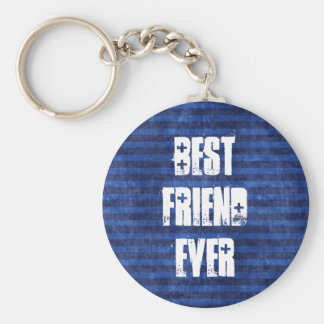 Best Friend Ever Blue Stripes White Grunge Text Key Ring