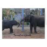 best friend funny birthday card, playing elephants greeting card