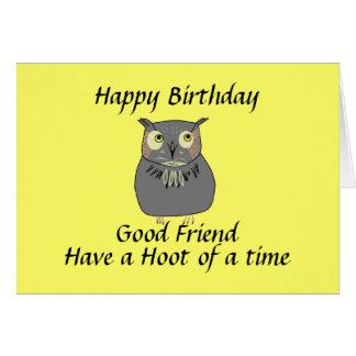 Best Friend Hooty Owl Birthday Card