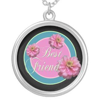 Best Friend Round Pendant Necklace