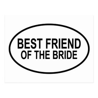 Best Friend of the Bride Black Wedding Oval Postcard