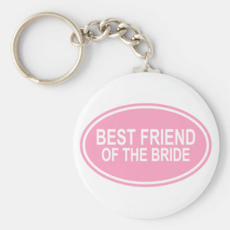 Best Friend of the Bride Wedding Oval Pink Basic Round Button Key Ring