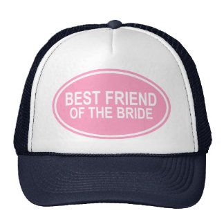 Best Friend of the Bride Wedding Oval Pink Hat