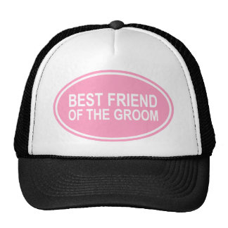 Best Friend of the Groom Wedding Oval Pink Mesh Hats
