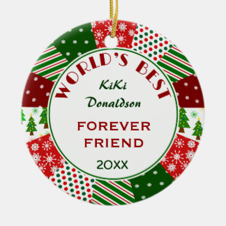 BEST FRIEND or Any Person Christmas Gift Ceramic Ornament