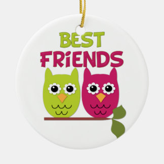 Best Friend Owls Ceramic Ornament