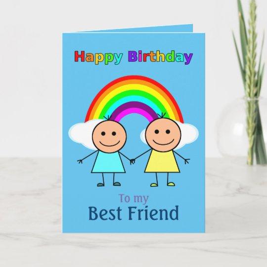 Best Friend Rainbow Personalised Birthday Card