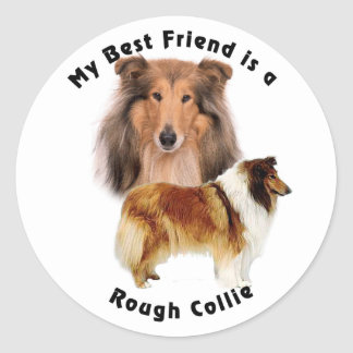 Best Friend Rough Collie Classic Round Sticker